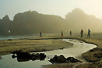 People walking next to stream flowing through sand below coastal rocks and fog at sunset, Pfeiffer Beach, Big Sur Coast, Monterey County, California
