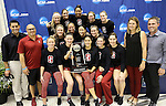 19 MAR 2016: Members of the Standord swim team pose with the runner-up trophy during the Division I Women's Swimming & Diving Championship held at the Georgia Tech Aquatic Center in Atlanta, GA. David Welker/NCAA Photos