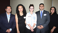 NWA Democrat-Gazette/CARIN SCHOPPMEYER Jose Esparza (from left), Mariana Soto, Alleri Brown, Luis Martinez, NWACC alum and scholarship donor, and Mariana Sicena attend the NWACC Foundation's scholarship donor appreciation luncheon Feb. 22 at the school's campus in Bentonville.