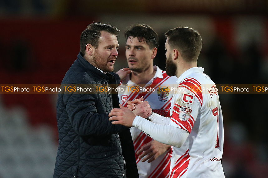 Stevenage manager Darren Sarll (L) celebrates after the match during Stevenage vs Grimsby Town, Sky Bet EFL League 2 Football at the Lamex Stadium on 28th January 2017