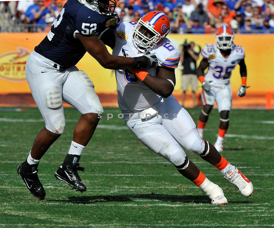 Jan 1 2011; Florida DL Jaye Howard (6) during  game against Penn State. Florida won the 25th anniversary of the Outback Bowl 37-24 at  Raymond James Stadium Tampa, FL. Mandatory Credit: Tomasso DeRosa