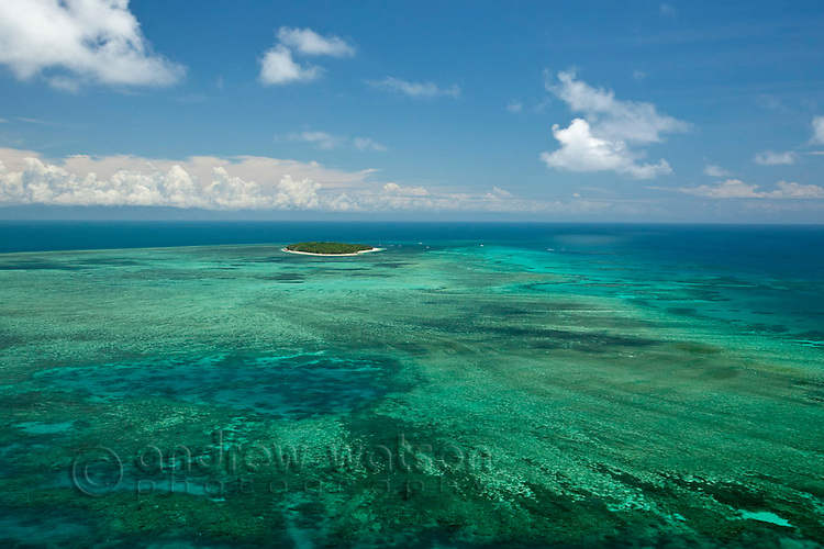 Aerial view of Green Island - a coral cay near Cairns.  Great Barrier Reef, Queensland, Australia