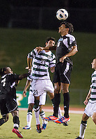 Number 8 ranked Charlotte beats number 16 ranked Coastal Carolina 1-0 on a goal by Thomas Allen in the 101st minute during the second overtime.  Pedro Ribeiro (10), Anthony Perez (21)
