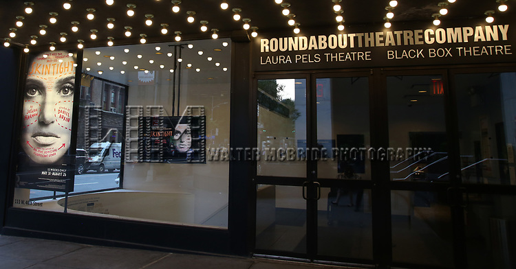 Theatre Marquee for  the Off-Broadway Opening Night photo call for the Roundabout Theatre Production of 'Skintight ' starring Idina Menzel at the Laura Pels Theatre on June 21, 2018 in New York City.