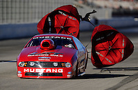 Nov 13, 2010; Pomona, CA, USA; NHRA pro stock driver Jerry Haas during qualifying for the Auto Club Finals at Auto Club Raceway at Pomona. Mandatory Credit: Mark J. Rebilas-
