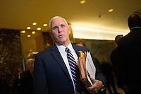 United States Vice President-elect Mike Pence speaks to members of the media at Trump Tower in Manhattan, New York, U.S., on Friday, November 18, 2016. <br /> Credit: John Taggart / Pool via CNP /MediaPunch