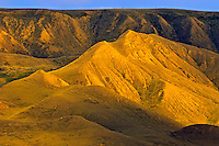 Badland formations along the Red Deer River at sunset<br /> near Empress<br /> Alberta<br /> Canada