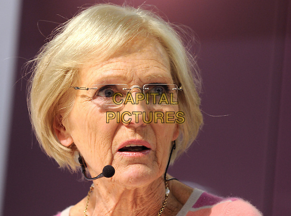 Mary Berry, Celebrity Chef Theatre, Ideal Home Show 2012, Earls Court, London, England..March 21st 2012.headshot portrait microphone glasses.CAP/PP/BK.©Bob Kent/PP/Capital Pictures.