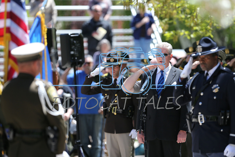 Shawn Mahan sings the National Anthem at the 21st annual Nevada State Law Enforcement Officers Memorial ceremony in Carson City, Nev., on Thursday, May 3, 2018. <br />