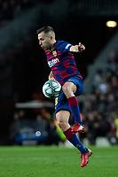 2nd February 2020; Camp Nou, Barcelona, Catalonia, Spain; La Liga Football, Barcelona versus Levante; Jordi Alba of FC Barcelona brings down the high ball