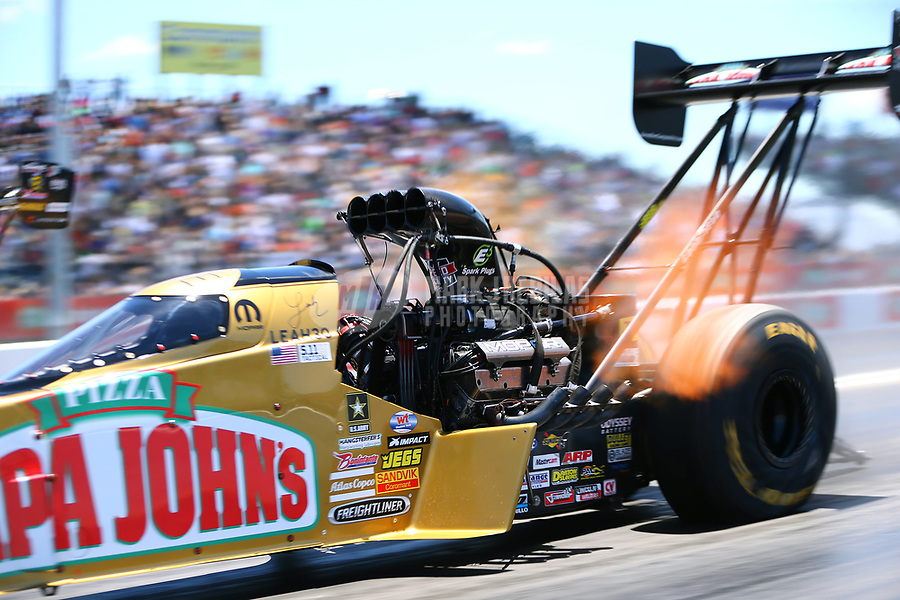 Apr 23, 2017; Baytown, TX, USA; NHRA top fuel driver Leah Pritchett during the Springnationals at Royal Purple Raceway. Mandatory Credit: Mark J. Rebilas-USA TODAY Sports