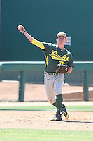 Mitchell Tolman (37) of the Oregon Ducks makes a throw during a game against the Southern California Trojans at Dedeaux Field on April 18, 2015 in Los Angeles, California. Oregon defeated Southern California, 15-4. (Larry Goren/Four Seam Images)