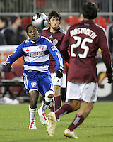 Marvin Chavez#18 of FC Dallas heads the ball towards Pablo Mastroeni#25 of the Colorado Rapids during MLS Cup 2010 at BMO Stadium in Toronto, Ontario on November 21 2010. Colorado won 2-1 in overtime.
