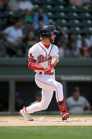 Center fielder Cole Brannen (10) of the Greenville Drive bats in a game against the Hickory Crawdads on Tuesday, April 30, 2019, at Fluor Field at the West End in Greenville, South Carolina. Hickory won, 5-4. (Tom Priddy/Four Seam Images)