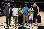 The Wake Forest Demon Deacons honored senior point guard Amber Campbell (2) prior to the game against the Virginia Cavaliers at the LJVM Coliseum on February 25, 2018 in Winston-Salem, North Carolina.  The Cavaliers defeated the Demon Deacons 48-41. (Brian Westerholt/Sports On Film)