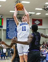 Elliot Paschal of Rogers makes a shot vs Fayetteville Friday, Feb. 7, 2020, at King Arena in Rogers. Go to nwaonline.com/prepbball/ to see more photos.<br /> (NWA Democrat-Gazette/Ben Goff)