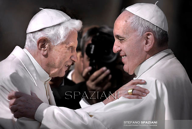 Pope emeritus Benedict XVI  with Pope Francis during a papal mass for elderly people at St Peter's square  at the Vatican.on September 28, 2014
