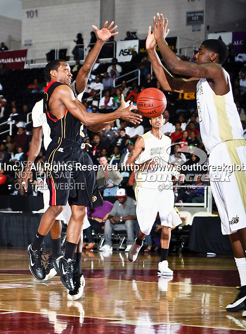 Grambling State Tigers guard Donald Qualls (2) in action during the SWAC Championship game between the Alabama State Hornets and the Grambling State Tigers at the Special Events Center in Garland, Texas. Alabama State defeats Grambling State 65 to 48.