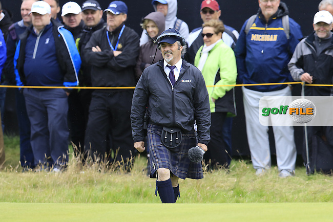David Feherty dressed like a local during Saturday's Round 3 of the 145th Open Championship held at Royal Troon Golf Club, Troon, Ayreshire, Scotland. 16th July 2016.<br /> Picture: Eoin Clarke | Golffile<br /> <br /> <br /> All photos usage must carry mandatory copyright credit (&copy; Golffile | Eoin Clarke)