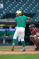 Bryce Gray (5) of the Notre Dame Fighting Irish at bat against the Florida State Seminoles in Game Four of the 2017 ACC Baseball Championship at Louisville Slugger Field on May 24, 2017 in Louisville, Kentucky. The Seminoles walked-off the Fighting Irish 5-3 in 12 innings. (Brian Westerholt/Four Seam Images)