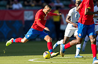 CARSON, CA - FEBRUARY 1: David Guzman #20 of Costa Rica takes a shot during a game between Costa Rica and USMNT at Dignity Health Sports Park on February 1, 2020 in Carson, California.