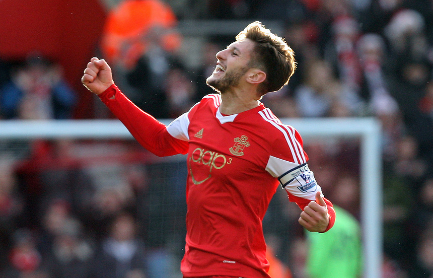 Southampton's Adam Lallana celebrates scoring his sides first goal <br /> Photo by Kieran Galvin/CameraSport<br /> <br /> Football - Barclays Premiership - Southampton v Tottenham Hotspur - Sunday 22nd December 2013 - St Mary's Stadium - Southampton<br /> <br /> &copy; CameraSport - 43 Linden Ave. Countesthorpe. Leicester. England. LE8 5PG - Tel: +44 (0) 116 277 4147 - admin@camerasport.com - www.camerasport.com