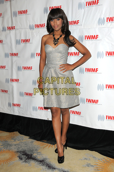KERRY WASHINGTON .attends The International Women's Media Foundation's Courage in Journalism Awards held at The Beverly Hills Hotel in Beverly Hills, California, USA, October 16th 2008                                                                     .full length silver grey gray strapless dress hand on hip black clutch bag shoes necklace .CAP/DVS.©Debbie VanStory/Capital Pictures