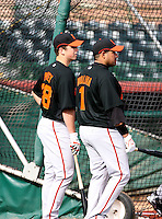 Buster Posey / Bengie Molina - San Francisco Giants - 2009 spring training.Photo by:  Bill Mitchell/Four Seam Images