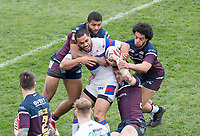 Picture by Allan McKenzie/SWpix.com - 08/04/2018 - Rugby League - Betfred Super League - Wakefield Trinity v Leeds Rhinos - The Mobile Rocket Stadium, Wakefield, England - Wakefield's Bill Tupou is tackled by Leeds's Kallum Watkins, Josh Walters & Richie Myler.