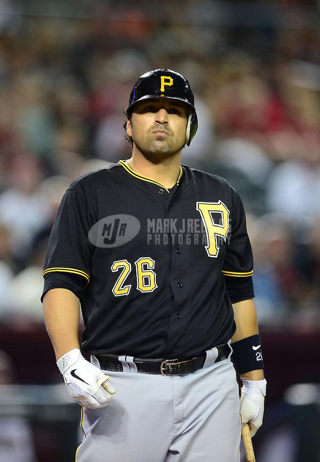 Apr. 17, 2012; Phoenix, AZ, USA; Pittsburgh Pirates catcher Rod Barajas at bat against the Arizona Diamondbacks at Chase Field. Mandatory Credit: Mark J. Rebilas-