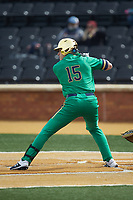 Eric Gilgenbach (15) of the Notre Dame Fighting Irish at bat against the Wake Forest Demon Deacons at David F. Couch Ballpark on March 10, 2019 in  Winston-Salem, North Carolina. The Demon Deacons defeated the Fighting Irish 7-4 in game one of a double-header.  (Brian Westerholt/Four Seam Images)