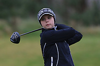 Emily Krause (GER) on the 1st tee during Round 1 of the Irish Girls U18 Open Stroke Play Championship at Roganstown Golf &amp; Country Club, Dublin, Ireland. 05/04/19 <br /> Picture:  Thos Caffrey / www.golffile.ie