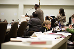 March 17, 2009. Raleigh, NC.. Images from one day in the life of Deborah K. Ross, Representative for North Carolina House District 38.. 11:38 AM. Ross asks for clarification of an issue before the education committee.