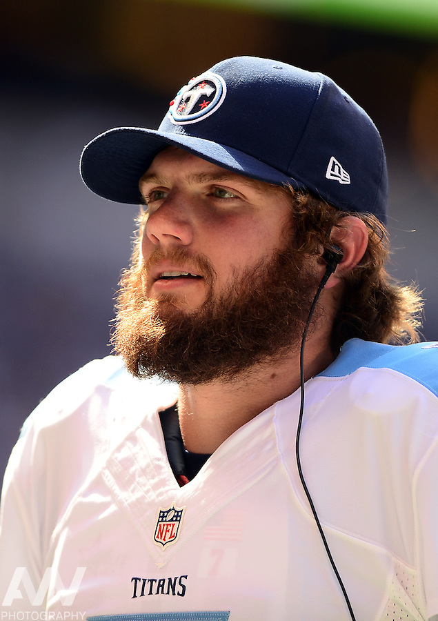 Sep 28, 2014; Indianapolis, IN, USA; Tennessee Titans quarterback Zach Mettenberger (7) against the Indianapolis Colts at Lucas Oil Stadium. Mandatory Credit: Andrew Weber-USA TODAY Sports