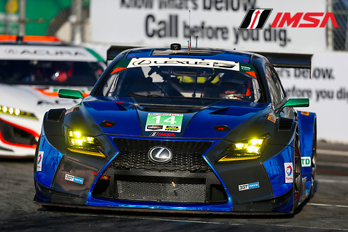 2017 IMSA WeatherTech SportsCar Championship<br /> BUBBA burger Sports Car Grand Prix at Long Beach<br /> Streets of Long Beach, CA USA<br /> Friday 7 April 2017<br /> 14, Lexus, Lexus RCF GT3, GTD, Scott Pruett, Sage Karam<br /> World Copyright: Jake Galstad/LAT Images