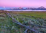 Grand Teton National Park, WY: Moonset over the Teton Range and Snake River Valley with fog rising off of the Snake River
