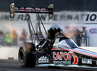 Aug. 16, 2013; Brainerd, MN, USA: NHRA top fuel dragster driver Steve Torrence during qualifying for the Lucas Oil Nationals at Brainerd International Raceway. Mandatory Credit: Mark J. Rebilas-