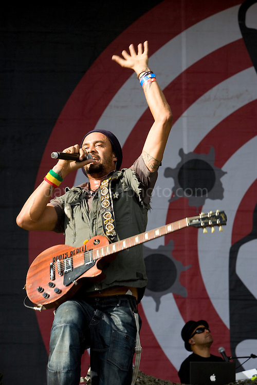 Michael Franti and Spearhead at Electric Picnic 2008, Stradbally, Laois, Ireland. Franti is an American poet, musician, and composer of African, American Indian, Irish, French, and German descent..