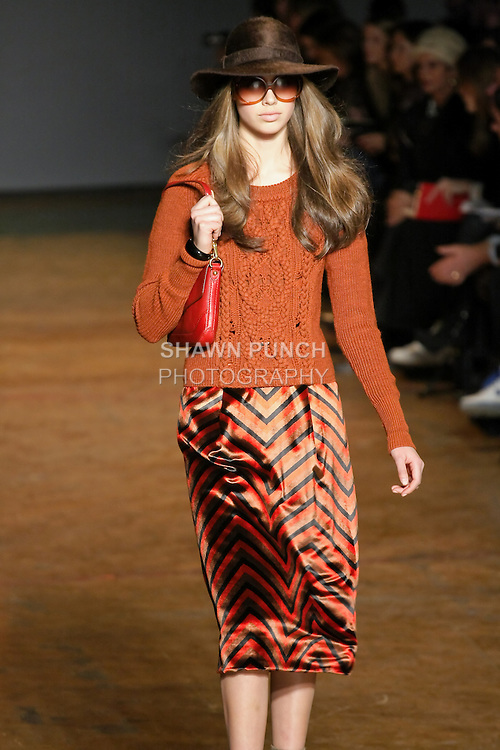 Jessica Clarke walks runway in an outfit from the Marc by Marc Jacobs Fall/Winter 2011 collection, during New York Fashion Week, Fall 2011.