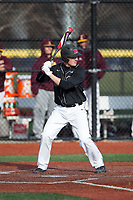Nick Matera (7) of the Rutgers Scarlet Knights at bat against the Iona Gaels at City Park on March 8, 2017 in New Rochelle, New York.  The Scarlet Knights defeated the Gaels 12-3.  (Brian Westerholt/Four Seam Images)