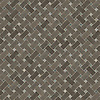 Basketweave 3 x 5 cm, a hand-cut stone mosaic, shown in honed Montevideo and polished Emperador Dark.