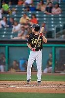 Ty Kelly (22) of the Salt Lake Bees bats against the Reno Aces at Smith's Ballpark on June 27, 2019 in Salt Lake City, Utah. The Aces defeated the Bees 10-6. (Stephen Smith/Four Seam Images)