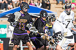 San Diego, CA 05/25/13 - Chris Summers (Westview #33), Jack Beetham (Carlsbad #13) and Henry Gardener (Carlsbad #7) in action during the 2013 Boys Lacrosse San Diego CIF DIvision 1 Championship game.  Westview defeated Carlsbad 8-3.