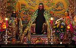 Main Altar, Sculptures of Guan Yu, Guan Ping and Zhao Cang, Kanteibyo Temple, Guan di Miao, Chinatown, Yokohama, Japan