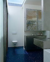 This striking bathroom has a deep blue tiled floor features stainless steel cabinets
