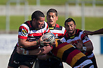 Siale Piutau gets support from Sherwin Stowers & August Pulu. ITM Cup rugby game between Waikato and Counties Manukau, played at Waikato Stadium, Hamilton on Saturday 28th August 2010..Waikato won 39 - 3.