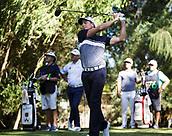 10th February 2018, Lake Karrinyup Country Club, Karrinyup, Australia; ISPS HANDA World Super 6 Perth golf, third round; Brett Rumford (AUS) tees off from a bunker