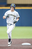 Michigan Wolverines first baseman Jesse Franklin (7) jogs around the bases after his first inning homerun against the Maryland Terrapins on April 13, 2018 in a Big Ten NCAA baseball game at Ray Fisher Stadium in Ann Arbor, Michigan. Michigan defeated Maryland 10-4. (Andrew Woolley/Four Seam Images)