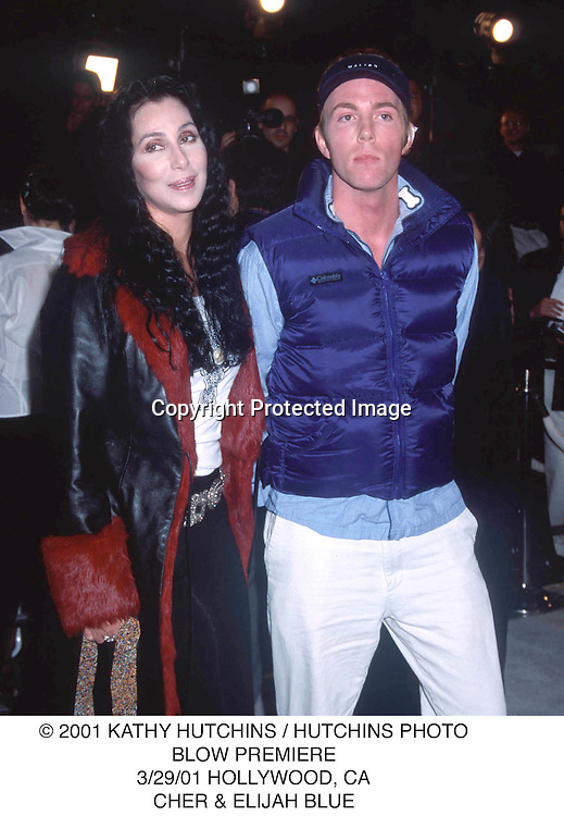 © 2001 KATHY HUTCHINS / HUTCHINS PHOTO.BLOW PREMIERE.3/29/01 HOLLYWOOD, CA.CHER & ELIJAH BLUE