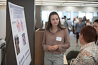 "Rebecca Reese '17 presents ""Docking, modeling, and sequencing of acid sphingomyelinase in pursuit of therapeutics for Alzheimer's Disease""<br /> Occidental College's Undergraduate Research Center hosts their annual Summer Research Conference on Aug. 4, 2016. Student researchers presented their work as either oral or poster presentations at the final conference. The program lasts 10 weeks and involves independent research in all departments.<br /> (Photo by Marc Campos, Occidental College Photographer)"